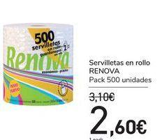Oferta de Servilletas en rollo RENOVA  por 2,6€