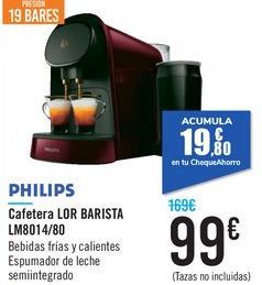 Oferta de Cafetera LOR BARISTA LM8014/80 PHILIPS por 99€