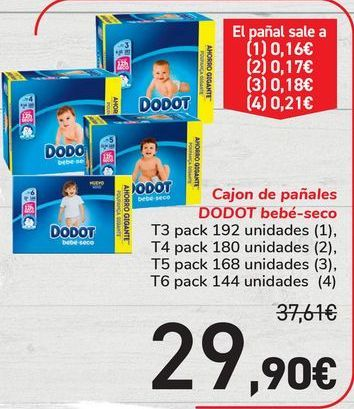Oferta de Cajon de pañales DODOT bebé-seco por 29,9€