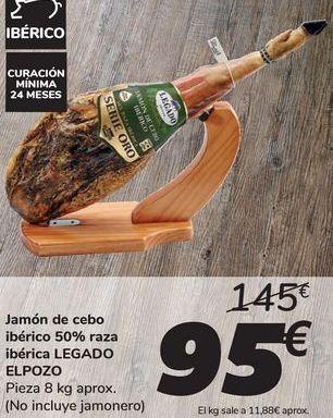 Oferta de Jamon de cebo ibérico 50% raza ibérica LEGADO EL POZO  por 95€