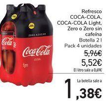 Oferta de Refresco COCA-COLA, COCA-COLA Lighjt, Zero o Zero sin cafeina  por 5,52€
