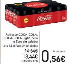 Oferta de Refresco COCA-COLA, COCA-COLA Light, Zero o Zero sin cafeína  por 13,44€
