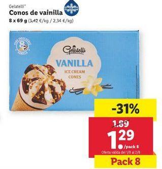 Oferta de Conos de vainilla Gelatelli por 1,29€