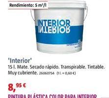 Oferta de Pintura plástica interior por 8,95€