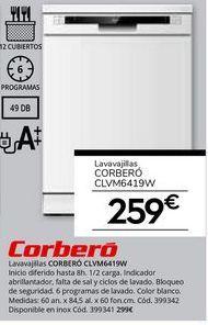 Oferta de Lavavajillas Corberó por 259€