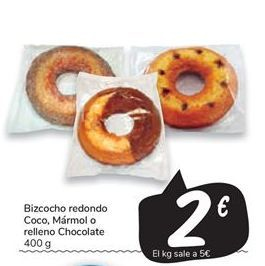 Oferta de Bizcocho redondo coca, Marmol o relleno chocolate por 2€