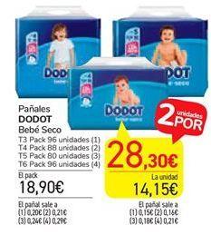 Oferta de Pañales Bebe seco Dodot por 18,9€