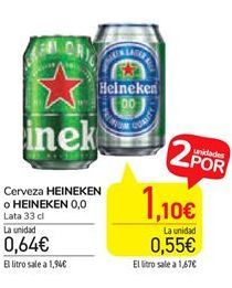 Oferta de Cerveza Heineken o Heineken 0,0 por 0,64€