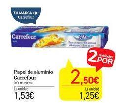 Oferta de Papel de aluminio carrefour por 1,53€