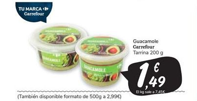 Oferta de Guacamole carrefour por 1,49€