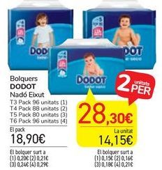 Oferta de Pañales DODOT por 18,9€