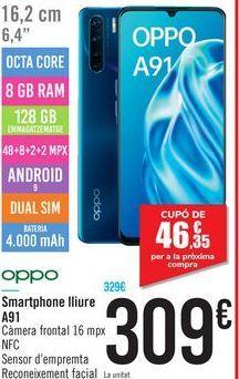 Oferta de Smartphone libre A91  por 309€