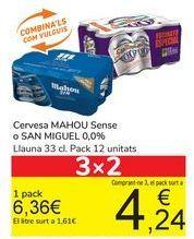 Oferta de Cerveza Mahou Sin o San Miguel  por 6,36€