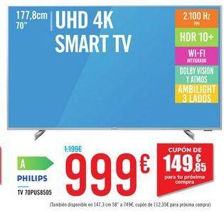 Oferta de TV 70PUS8505 PHILIPS por 999€