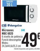 Oferta de Microondas MBC 6020 Orbegozo  por 49€