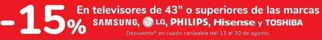 Oferta de En televisores de 43'' o superiores de las marcas SAMSUNG, LG, PHILIPS y TOSHIBA  por