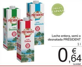 Oferta de Leche entera, semi o desnatada PRÉSIDENT por 0,64€