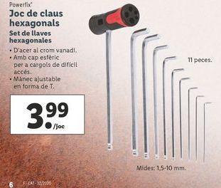 Oferta de Set llaves hexagonales Powerfix por 3,99€