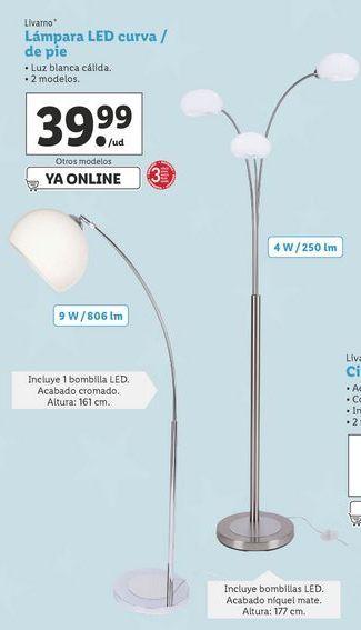 Oferta de Lámpara LED curva / de pie Livarno por 39,99€