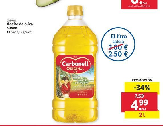 Oferta de Aceite de oliva suave Carbonell por 4,99€