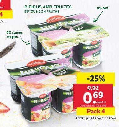 Oferta de Bífidus con Frutas Milbona por 0,69€