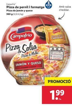 Oferta de Pizza de jamón y queso Campofrío por 1,99€