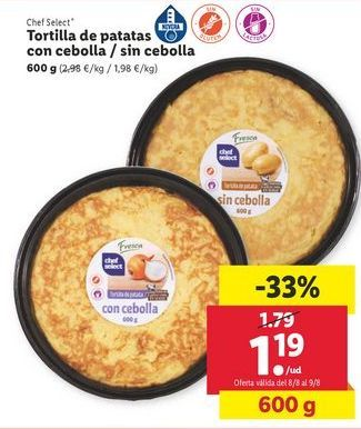 Oferta de Tortilla de patatas con cebolla / sin cebolla chef select por 1,19€