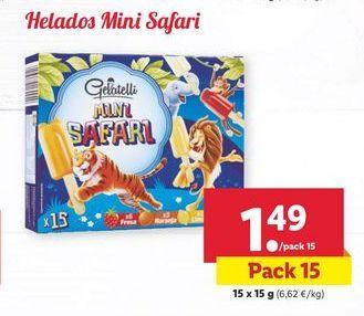 Oferta de Helados Mini Safari Gelatelli por 1,49€