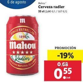 Oferta de Cerveza radler Mahou por 0,55€