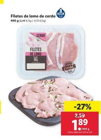 Oferta de Filetes de lomo de cerdo por 1,89€