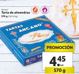 Oferta de Tarta de almendras Ancano por 4,45€
