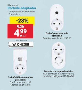 Oferta de Enchufe adaptador SilverCrest por 4,99€