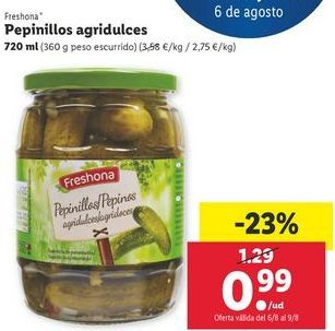 Oferta de Pepinillos agridulces Freshona por 0,99€