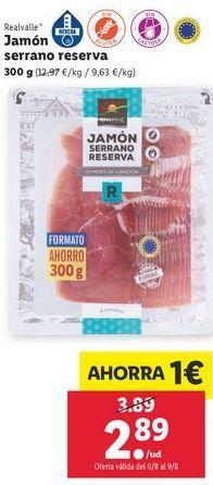 Oferta de Jamón serrano reserva Realvalle por 2,89€
