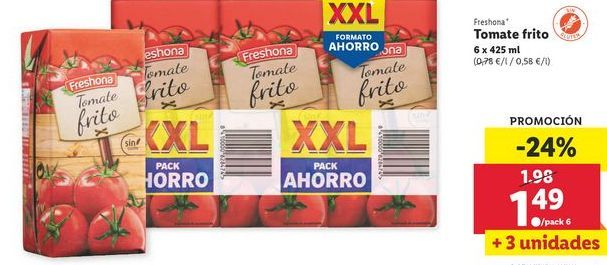 Oferta de Tomate frito Freshona por 1,49€