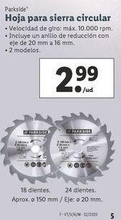 Oferta de Hojas para sierra circular Parkside por 2,99€