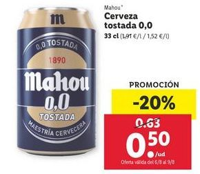 Oferta de Cerveza tostada 0,0 Mahou por 0,5€