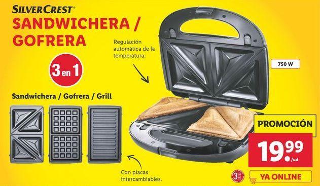 Oferta de Sandwichera / Gofrera SilverCrest por 19,99鈧�