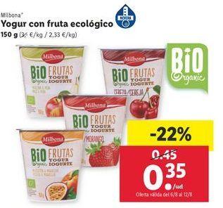 Oferta de Yogur con fruta ecológico Milbona por 0,35€