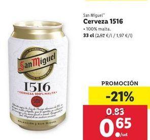 Oferta de Cerveza 1516 San Miguel por 0,65€