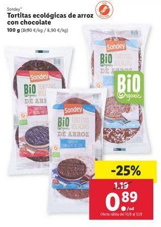 Oferta de Tortitas ecológicas de arroz con chocolate Sondey por 0,89€