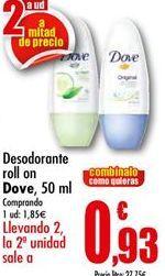 Oferta de Desodorante roll on Dove por 1,85€