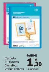 Oferta de Carpeta 30 fundas Carrefour  por 1,3€