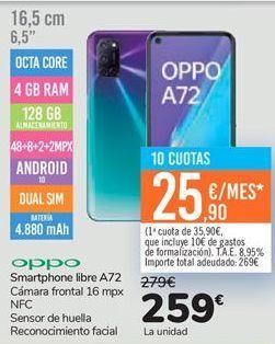 Oferta de Smartphone libre A72  por 259€