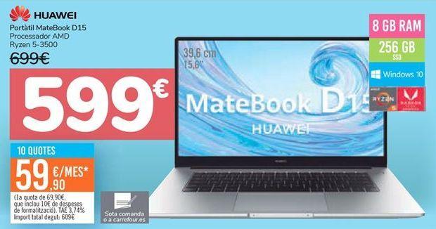 Oferta de Portatril MateBook D15 Huawei  por 599€