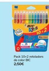 Oferta de Pack 10+2 rotuladores de color BIC  por 1,99€