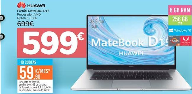 Oferta de Portatril MateBook D15 Huawei  por 599€