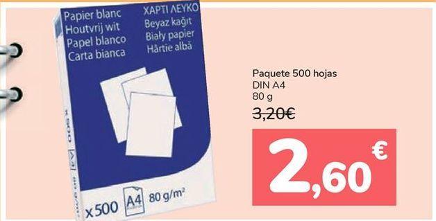 Oferta de Paquete 500 Hojas DIN A4  por 2,6€
