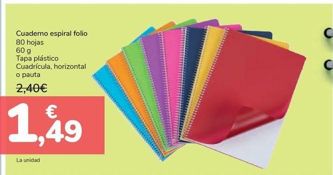 Oferta de Cuaderno espiral folio  por 1,49€