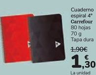 Oferta de Cuaderno espiral 4º Carrefour  por 1,3€